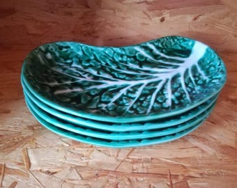 Set of 4 Vintage Secla Portugal Majolica style Cabbage Leaf dish / plate. Green and white ceramic. Collectable.