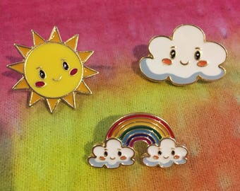 Cute Hat Pins Set of (3) Smiling Rainbow, Cloud and Sun