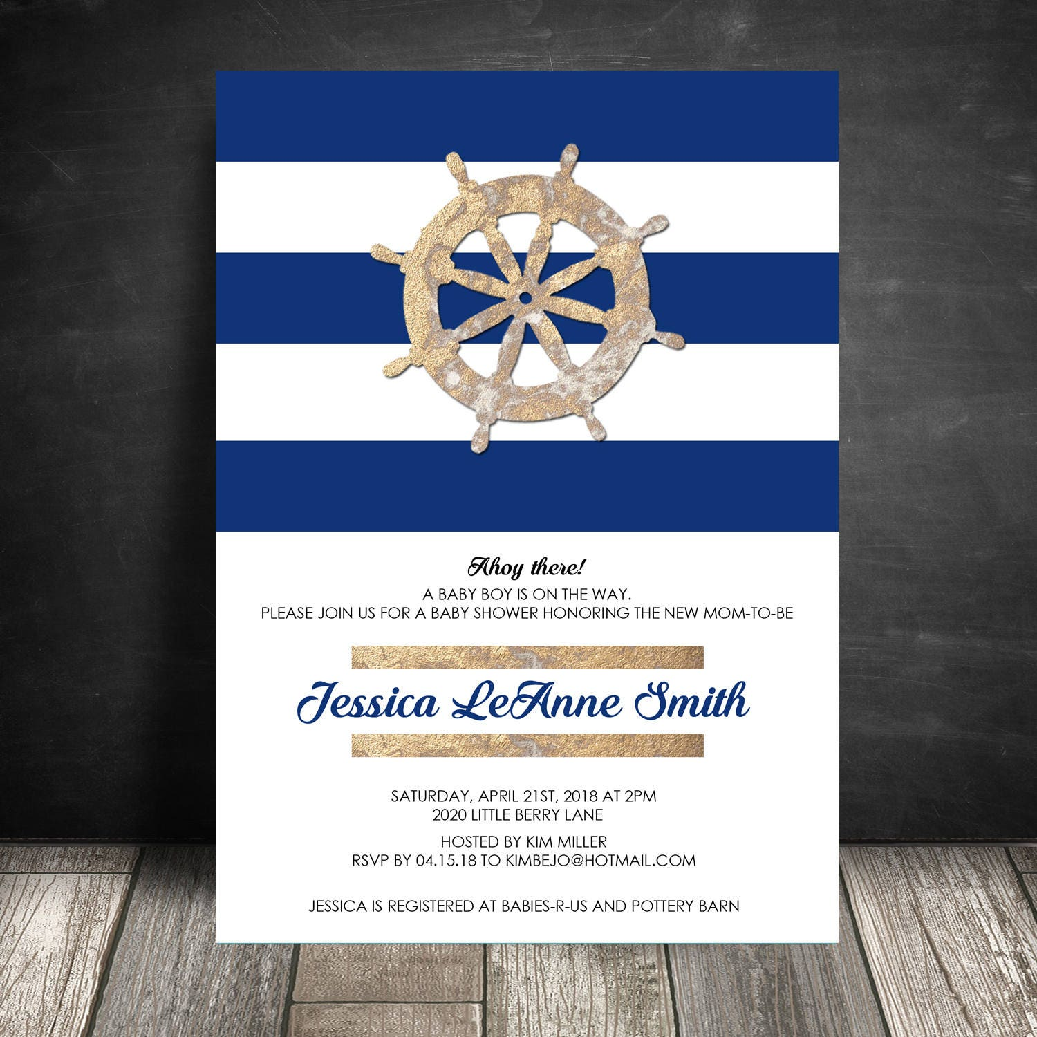 Navy and Gold Boy Baby Shower Invitation, Nautical Invite, Couples ...