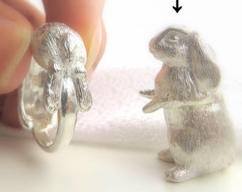 Holland Lop Rabbit Paperweight ornament, Figurines, silver 925, gold courting, oxidized silver, brass,