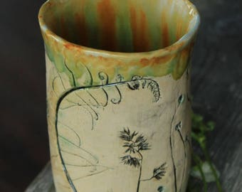 yellow ceramic tumbler yellow tumbler glazed ceramic glass tea cup tumbler ceramic tableware yellow pencil cup ceramic mug handmade