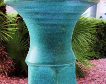 "Vase Ceramic Turquoise Green Handmade Pottery 17"" Tall Hand Made Vintage 80s Makers Mark Lavender Purple Yard Patio Art Hexagonal Shape"