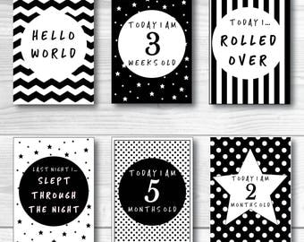 Baby Milestone Cards Printable PDF Download Print At Home Black White Monochrome Unisex Baby Shower Gift Animal Cute
