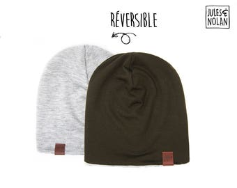 Fall  reversible slouchy beanie- Kaki/Grey