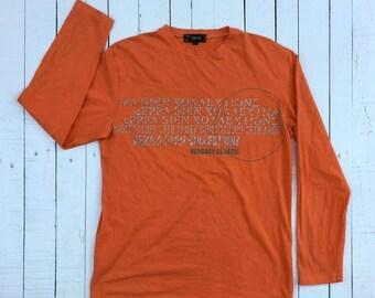 HEAVEN SALES 20% OFF Authentic Versace Orange Made in Italy Longsleeve Luxury Shirt