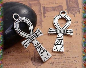 4 antique silver (Egyptian) Ankh cross pendants