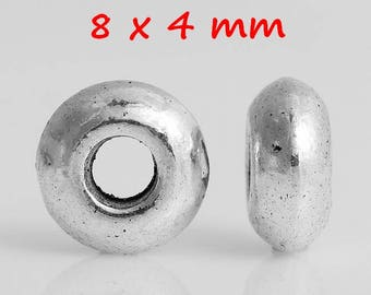 30 antique silver UFO spacer beads
