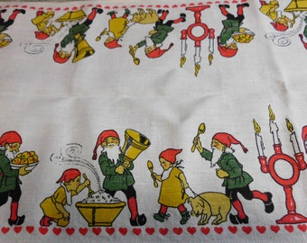 "Vintage Linen Table Runner 44"" x 15"" Whimsical Elves Gnomes Little People Motif Super Cute"