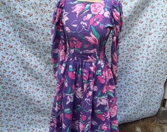 Purple flower dress by Laura Ashley
