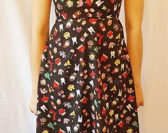 Cartoon dress - Summer dress - Comic dress - Skater dress - Cute dress - Handmade dress - Funky dress - Cartoon print - Swing dress - Party