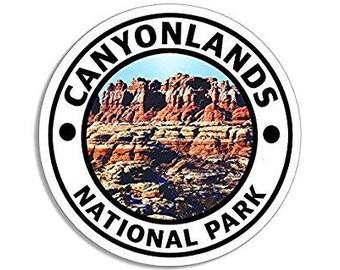 Round CANYONLANDS National Park Sticker (hike travel rv)