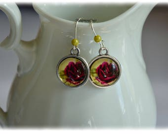 Earrings cabochon pink design