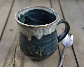 Waterfall Wheel Thrown Stoneware Pottery Mug