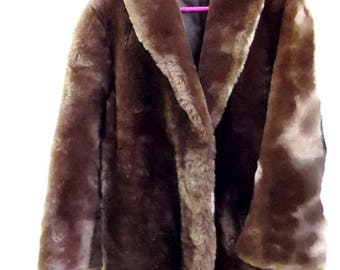 Fashion woman - jacket three quarter sheep fur tarnished - size 40-42 - Made in France
