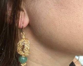 Gold Wire Crochet Teardrop Hoop Earrings