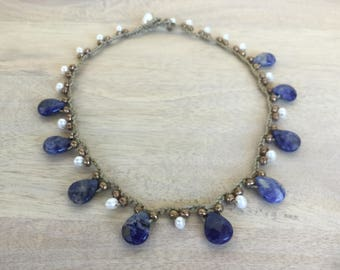 "Sodalite Faceted Gemstone, White Fresh Water Pearl Potato Bead and Gold Seed Bead Necklace, Taupe Crocheted Cord ""Blue Bird"""
