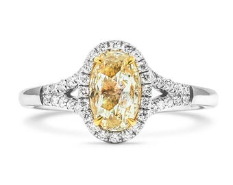 Diamond Engagement Ring, Oval Diamond Ring, Halo Diamond Ring, 18K white Gold Ring With Diamonds, Wedding Diamond Ring