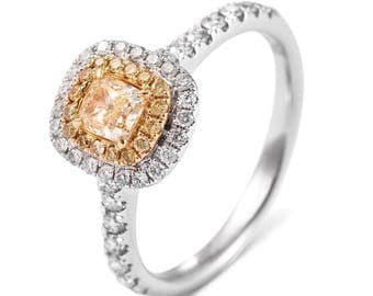 Radiant Cut Yellow Diamond Halo 18K White Gold Engagement Ring/ Handcrafted Half Eternity Pave Diamond Ring/ Custom Gold Jewelry Gift