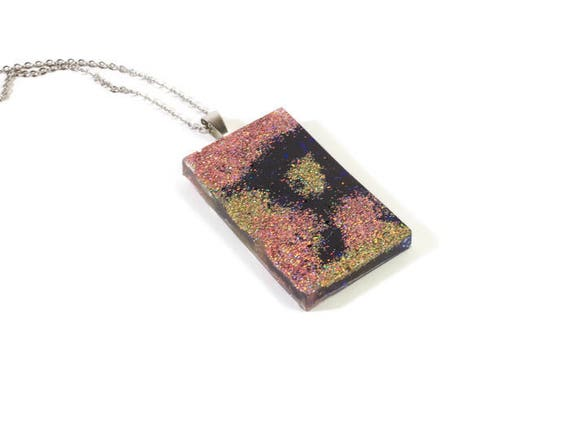 Glittler pendant necklace, Resin jewelry, Resin glittler necklace, rectangle shape pendant