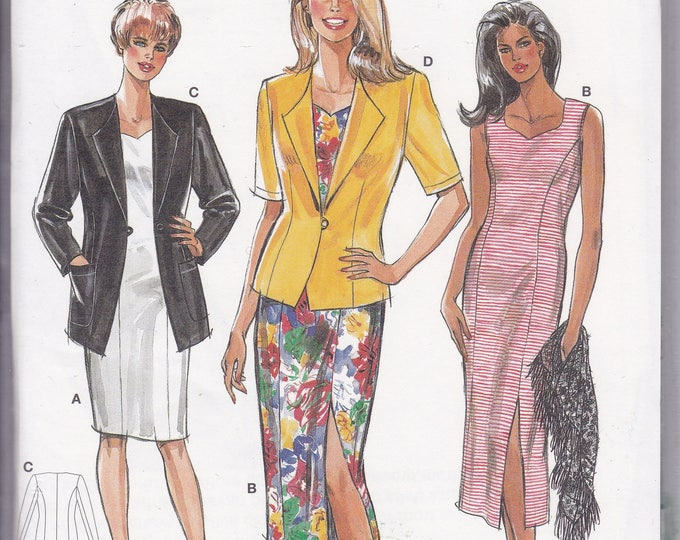 FREE US SHIP Burda 4014 Retro 1990s 90's Sewing Pattern Dress Jacket Size 12 14 16 18  20 22  Bust 34 36 38 40  42 44 plus size Uncut