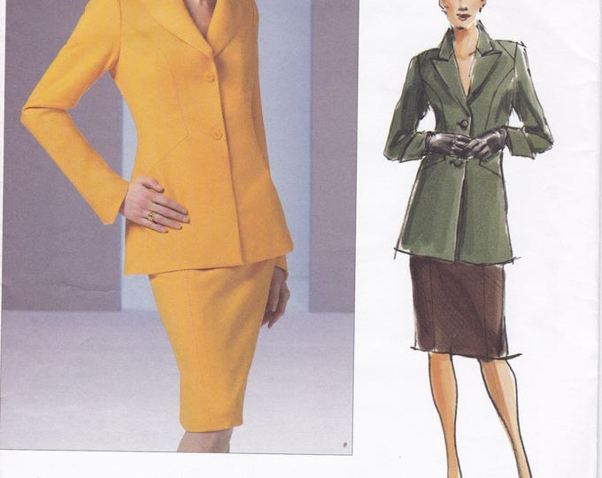 FREE US SHIP Vogue Sewing Pattern 2887 Couture Suit Jacket Skirt Factory Folded Size 6 8 10 Bust 30.5 31.5 32.5 2005 Out of Print