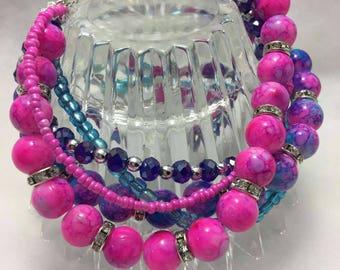 Bracelet Pink and Purple Rhinestone Beaded Bracelet with Charms
