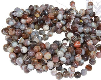 15 IN Strand 10 mm Botswana Agate Round Faceted Gemstone Beads (BA100111)