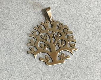 Mexican Pendant of Birds TREE of LIFE Cut Cut by Hand Crafted in Shiny Polished 925 Sterling Silver in Taxco Mexico  C
