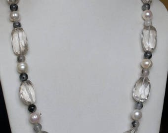 ON SALE Splendid Cultured Pearl, Quartz, Crystal NECKLACE