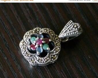 ON SALE Vibrant Precious Stones Marcasite Silver Pendant