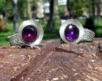 Vintage Metal Gufflinks Soviet Cufflinks Lilac Stone