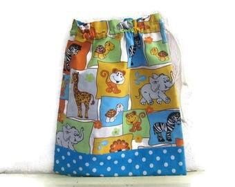 Pocket towel canteen bag for snack, animals, zoo, blue