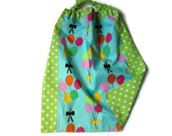 canteen elasticated towel, children's table, nursery, nursery, colorful balloons, green dots