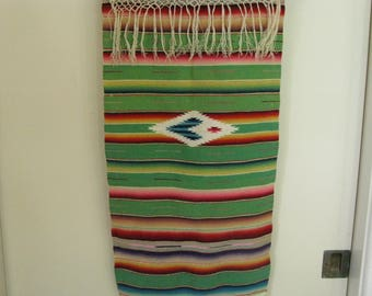 Vintage Mexican Woven Serape Table Runner~~Serape Wall Hanging~~Southwest Home Decor