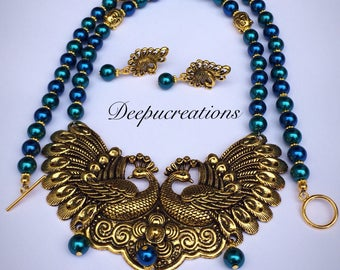 Peacock theme necklace and earrings