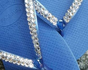 Havaianas Blue Bridal Swarovski Crystal Rhinestone Flip Flops bridal beach wedding bridesmaid bling destination wedding