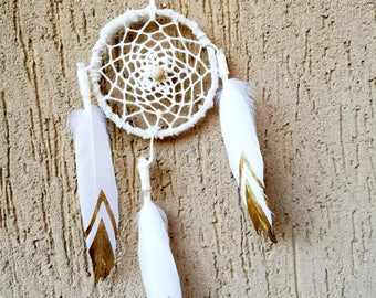 Mini White Gold Boho Bohemian Dreamcatcher Dreamcatcher White Gold