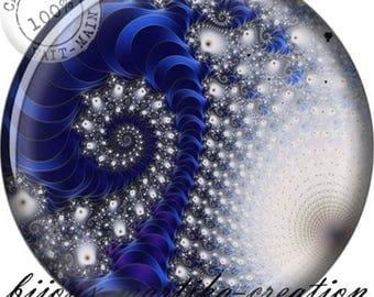 Grey white and blue spiral resin cabochon 25mm, 20mm, 18mm, 16mm.