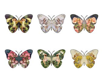 12 Gorgeous Flower Fairy themed  Butterfly Edible Wafer Paper Cupcake Cake Toppers