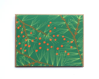 Evergreen Holiday Card, Christmas Card, Xmas greeting card, Blank Evergreen card, Red and Green holiday card