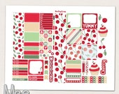 Red Cherry printable planner stickers for use with mini Happy planner,Weekly planner kit,June planner stickers,personal size cherry stickers