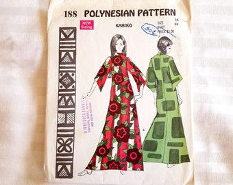 Vintage Polynesian Pattern 188 Kahiko Size 16 Bust 38. Made in Hawaii, Cut, All Pieces & Instructions Included.