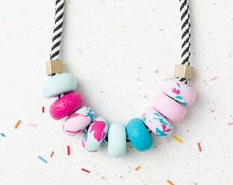 Modern Chunky necklace, Polymer clay necklace, Pink Beaded necklace, Urban jewelry, Statement necklace, Geometric necklace, geometric gift
