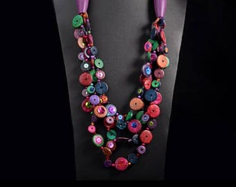 Wooden collection purple wooden, Ethnic necklace.