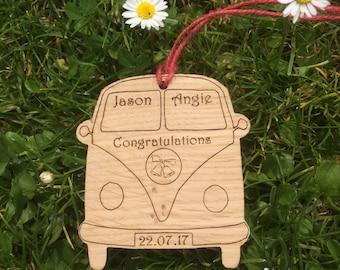 Oak Personalised Camper Van Hanging.