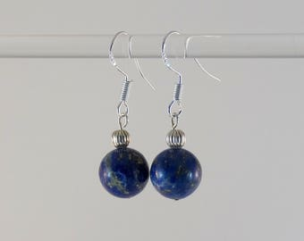 FREE SHIPPING! Earrings, undyed Lapis Lazuli and sterling 925 silver