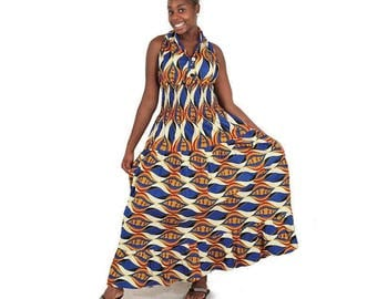 Sleeveless African Print Dress