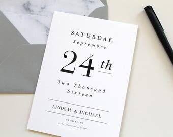 Modern Save the Date, Modern Marble Save the Date, Simple Save the Date Card, wedding save-the-date, modern design, marble envelope liner