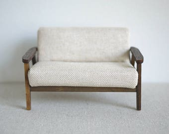 Dollhouse armchair dolls house twin double seat sofa living room table 1 12th scale miniature