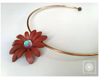 Leather bib necklace with opalite glass bead. Collar necklace with leather flower. Choker with leather and bead imitation opal.